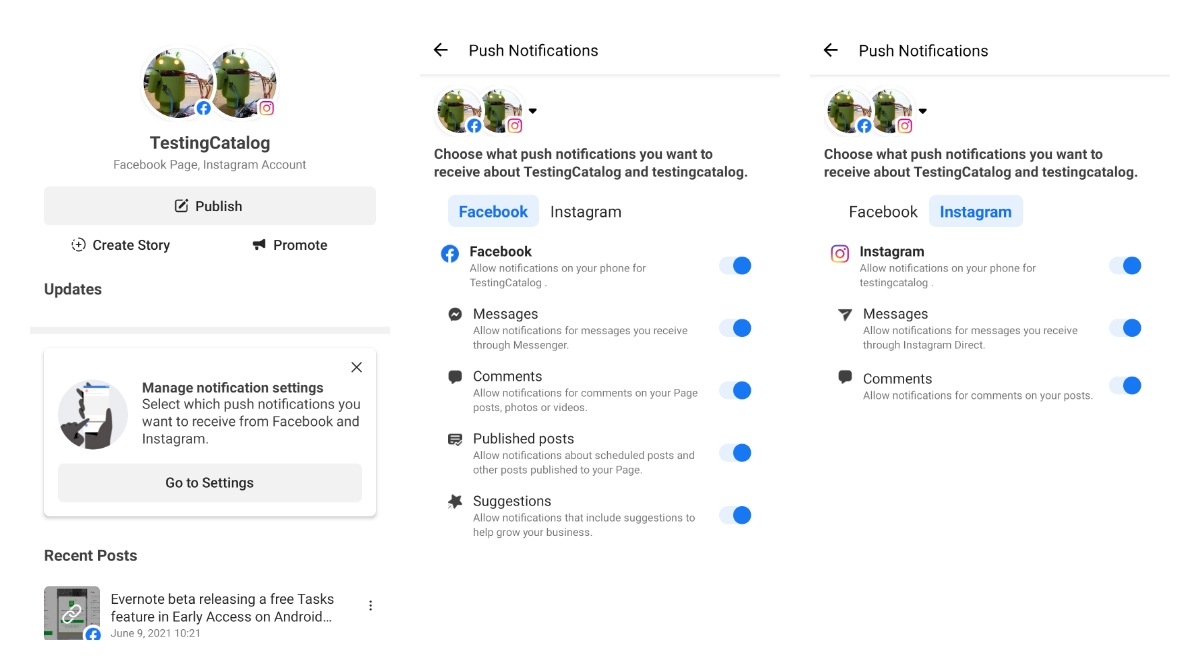 Facebook Business Suite allows you to control which Facebook and Instagram notifications do you want to receive